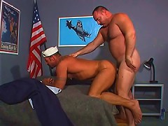 Navy bear spreads his ass cheeks open for as deep of a fucking as possible