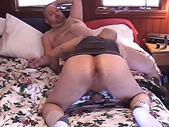 This bald bear couldn't spread his ass wide enough for all of this guy's hairy cock!