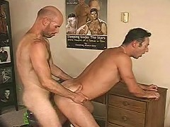 Lustfully gay man-slut gets pounded from behind by his gay bear lover