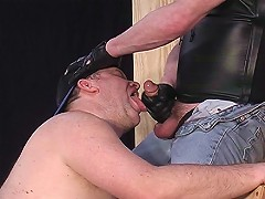 Tied up cock sucking bear gets abused