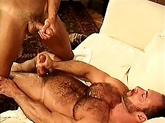 Hairy bear loves getting his ass fucked and his chest covered in sticky sperm